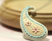 Yellow Blue Pink White Paisley Pendant Necklace