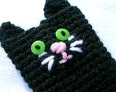 Black Cat Crochet Wallet ,Card Holder