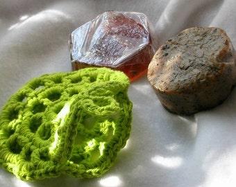 Pancake Pocket - Soap Holder, Pouch, Soap Saver, Scrubbie, Lime Green