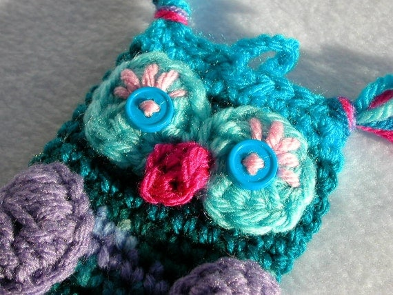 Teal & Purple Owl Pouch for Cell Phone or Camera (Crochet Cozy, Case, Cover, Holder)