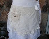 Aprons - Womens Half Apron - White and CremeLace Aprons - Jane Austin Apron - Annies Attic Aprons - Vintage Linens Apron - Shabby Chic Apron
