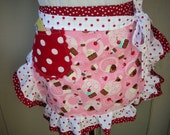 Aprons - Womes Half Aprons - Cupcake Fabric Apron - My Pink Cupcake Ruffled Apron
