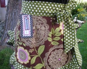 Aprons - Amy Butler Aprons - Brown Aprons - Green Aprons - Monogrammed aprons - Annies Attic Aprons - Handmade Womens Aprons