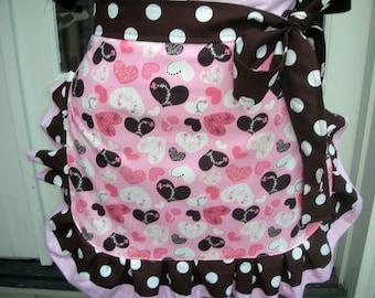 Aprons - Womens Valentines Aprons - Annies Attic Aprons - Etsy Aprons - Heart Aprons - Pink Aprons - Brown Dot Aprons - Handmade Aprons