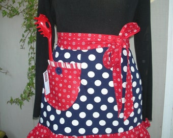 Womens Aprons - Navy Dotted Half Aprons - I Love Lucy Aprons - Annies Attic Aprons - Waist Aprons - Teachers gift Aprons - Indigo Aprons
