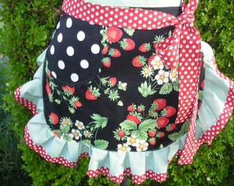 Strawberry Aprons - Womens Half Aprons - Strawberry Fields Forever Aprons - Handmade Apron - Annies Attic Aprons - Handmade Aprons