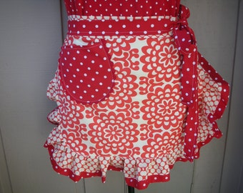Women's Red Aprons - The Wall Flower Aprons - Handmade Amy Butler Aprons