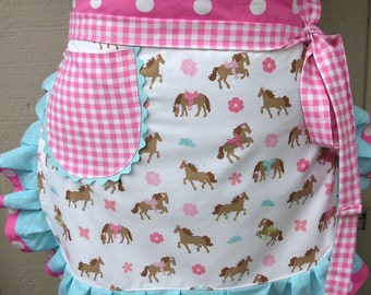 Apron - Womens Half Apron - Horse Apron - A Girl and Her Horse - Apron - Western Apron - Annies Attic Aprons