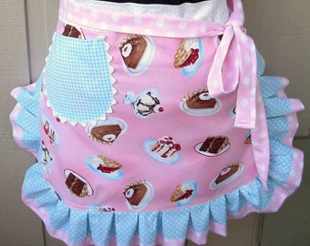 Aprons - Womens Half Aprons - Aprons with Cake Fabric - Pink Fabric - Handmade Ruffled  Aprons - Pink Dessert Aprons - Annies Attic Aprons