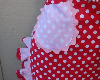 Womens Aprons - Candy Land Apron - Red Polka Dotted Half Apron - Womens Aprons - Annies Attic Aprons