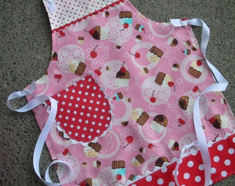 Girls Aprons - Childrens Aprons - Pink Cupcake Girls Aprons - Cupcake Girl APRONS- Cherry Aprons - Pink Cupcake Apron - Annies Attic Aprons
