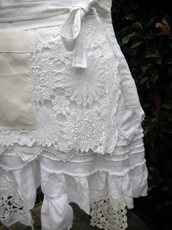 Womens Aprons - Wedding White Lace Aprons -  Shabby Chic Aprons - French Flea Market Chic Aprons - Jane Austin Aprons - Shabby Chic Aprons