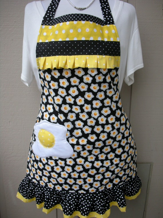 Aprons - Womens Full Apron - Egg Apron - Sunny Side Up Apron - Apron with Eggs