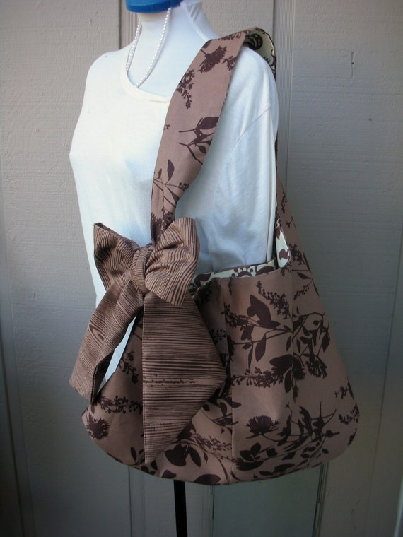 Tote Bag - Purse - Handmade Canvas Bag - Book Bag - School Bag - Bags and Purses - Bag with Bow