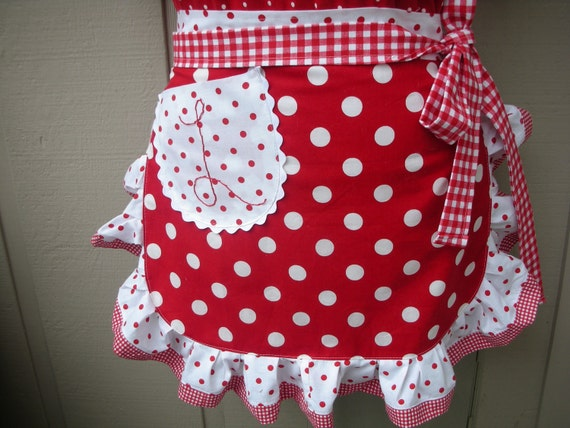 Aprons - Womens Half Aprons - I Love Lucy Apron - Red and White Dot Apron - Annies Attic Aprons