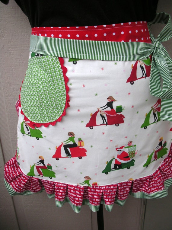 Aprons - Half Aprons - Christmas Aprons - Half Aprons -  Girl on Scooter Apron - Christmas Aprons - Holiday Aprons