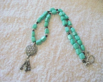 Burst of Joy turquoise beaded silver pendant necklace