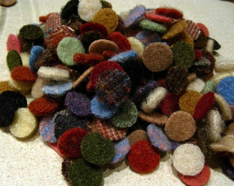 200 PLUS  - 9/16 inch wool penny rug circles - mixed