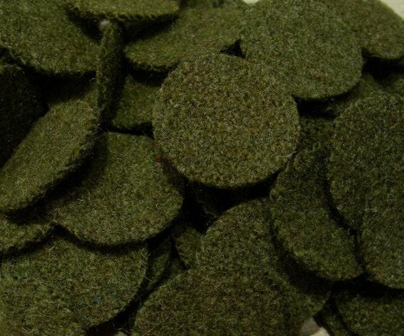 Army Green, 100-1 inch Wool Penny Rug Circles