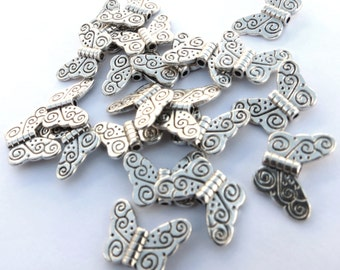 Butterfly Wings - 100 pcs. - Angels Wings - Antiqued Silver - Bead - Charm - Tibetan Style - Lead Free - Cadmium Free