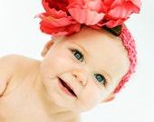 Hot Pink BIG Peony Flower headband
