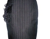 SALE Pinstripes and Ruffles Pencil Skirt