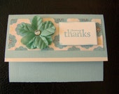 Handmade Card with Gift Card Money Pocket Many Thanks Stamped