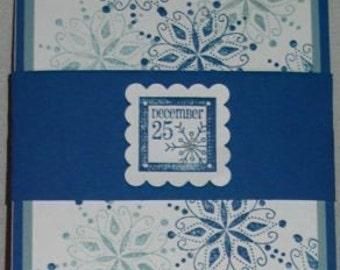 Handmade Card Christmas Holiday Winter December 25 snowflake Glitter