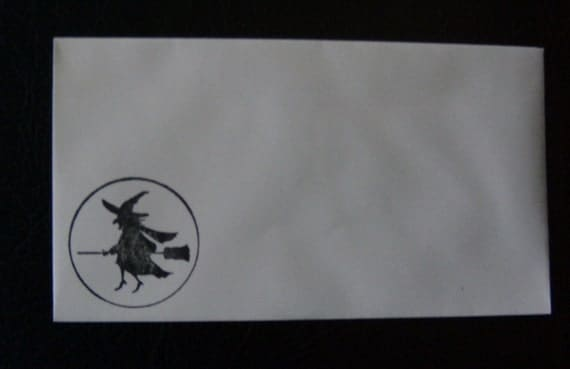 Envelopes Stamped Witch on Broom Halloween Fall Set of 10  - 3x5