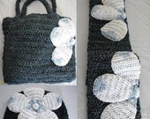 Crochet Pattern Flower Hat, Scarf and Tote Set in PDF