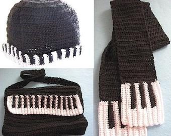 Crochet Pattern Piano Messenger Bag, Hat & Scarf Set In USA Terms, PDF, Digital Download