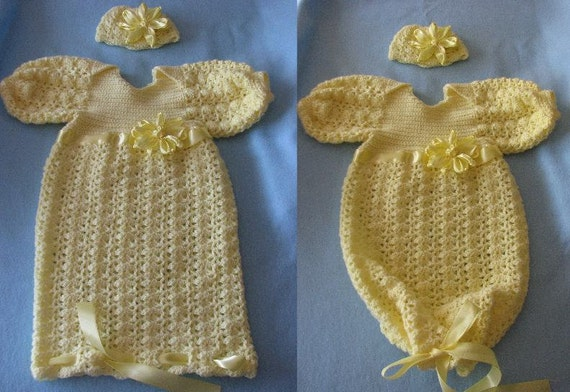 Yellow Shell Sweet Pea Outfit & Matching Hat w Knotted Bow Crochet Pattern In USA Terms, PDF, Digital Download