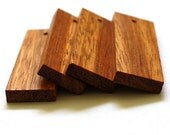 Bayong Wood 15x45mm flat rectangle pendants, top drilled, set of 4
