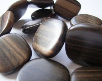 Tiger Ebony Flat Square 25mm Wood Beads, Top-drilled