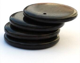 Tiger Ebony 35mm Flat Round Pendants, set of 4
