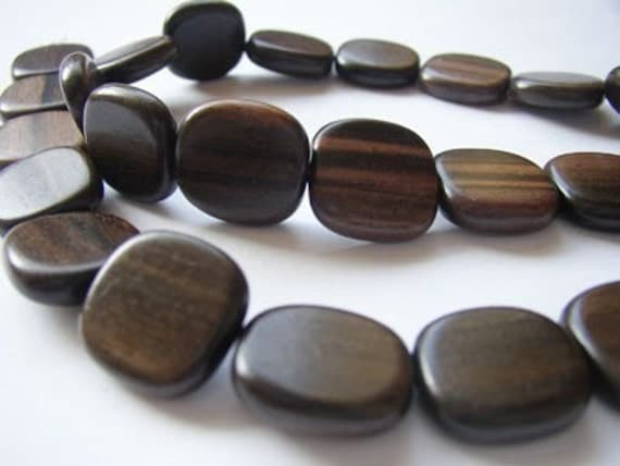 Tiger Ebony Flat Square 16mm Wood Beads, 1 16 inch strand