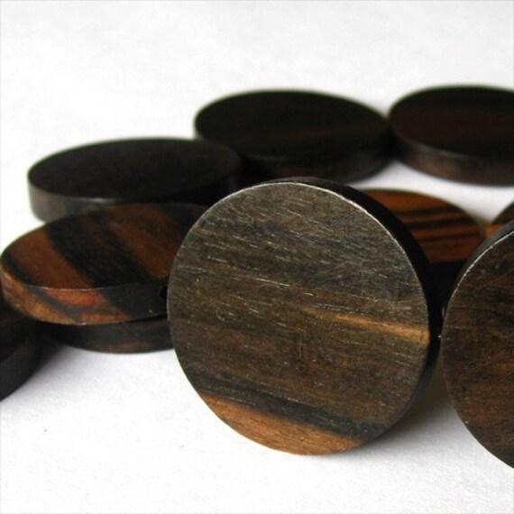 Tiger Ebony Flat Round 30mm Wood Beads