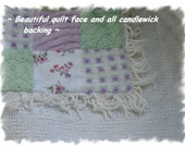 Green and Lavender Explosion in a Patchwork Lap Throw or Baby Quilt