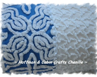 Beautiful Blue and White Vintage Chenille Bolster