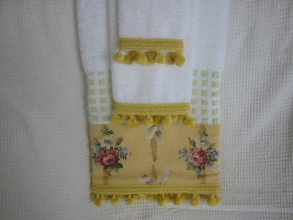 Sunny Yellow Embellished Towel Set
