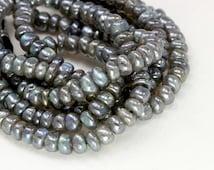 Smooth Labradorite Rondelle Gemstone Bead Strand, 9 inch Strand  - 6 mm, Blue Flash, AAA Quality Semi Precious Gemstone Beads- Item 189