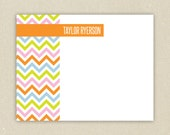 Personalized Flat Notecards(15) - Colorful Chevron