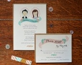 Custom Illustrated Portraits Wedding Invitation and Reply Card