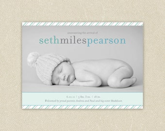 Baby Boy or Girl Custom  Birth Announcement Printable - Simply Striped