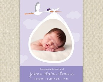 Printed Birth Announcements: Baby Boy or Girl Photo Stork Delivery