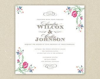 Wedding Invitations: Southern Belle - Classic Floral Wedding Collection