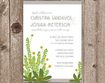 Wedding Invitations: Natural Succulents & Poms Wedding Collection