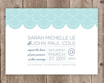 Wedding Invitations: Simple Scallops Wedding Collection - Beach Wedding