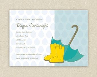 Baby Boy or Girl Custom Baby Shower Invitations - Rain Boots