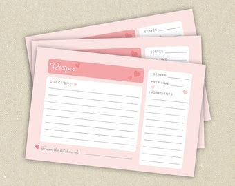 Recipe Cards: Simple Pink Hearts
